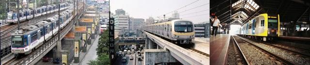 Metro Manila's major rail lines: MRT, LRT Line 2, and LRT Line 1.(Photo source: http://www.urbanrail.net/as/mani/MRT3_Shaw2.jpg / http://farm3.static.flickr.com/2113/1962487058_e954ca3899.jpg / http://www.philippinestodayus.com/wp-content/uploads/2012/04/lrt-1.jpg)