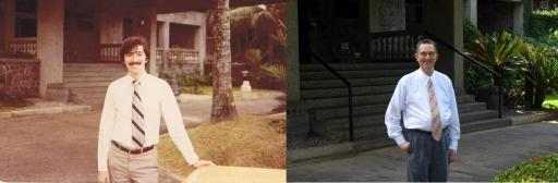 At right, at Makiling Conference Center, circa 1972. It was there where I started my first seminar as an Opus Dei member. At left, photo taken on the same spot , 40 years later.