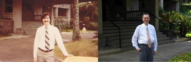 At right, Mr. Cuervo at Makiling Conference Center, circa 1972. At left, photo taken on the same spot , after 40 years, on the birthday of St. Josemaria Escriva, Jan. 9, 2013.