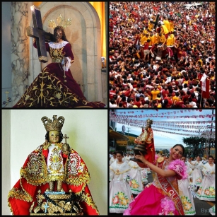 At top, the Black Nazarene enshrined at Quiapo Cathedral. Its feast day is attended by thousands of devotees. Below, the image of Sto. Nino at Cebu. Every year, Cebuanos celebrate the Sto. Nino through a colorful festival, Sinulog Festival.