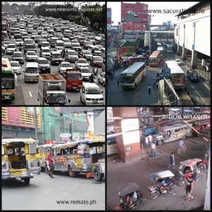 Causes of traffic in Manila: overstaying of buses in bus stops and illegal terminals of jeepneys and tricycles.