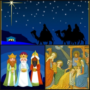 The journey of the 3 Kings: finding the birthplace of Jesus by following the star, meeting the Baby Jesus, and giving their gifts of  Gold, Frankincence, and Myrrh.