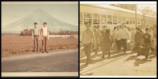 The first Legazpi trip of Mr. Cuervo. At left, he poses with Fico with Mayon volcano as background. At right, the arrival of Mr. Cuervo III, Mr. Cuervo Jr., Fico, and PAREB members at Legazpi.
