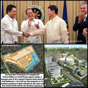 "President Aquino lauds the turn-over of the FTI property between the government and Ayala Land representatives. Ayala Land will develop the former FTI property which is now called as ""Arca South""."