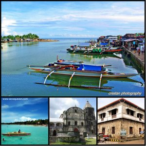 Images of Quezon: The fishing port of Atimonan, Alabat Iland, Tayabas Church, and  Casa Comunidad, an old Spanish house.