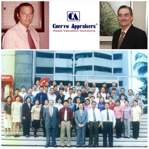 Mr. Ramon CF Cuervo III (right) and his father, Ramon Cuervo Jr. (left) and their employees at  at Cuervo Appraisers Inc.