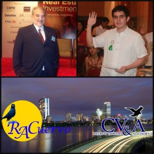 From left is Mr. Fico Cuervo, the brother of Mr Cuervo and Mr. Miguel Camus, the business partner of Mr. Cuervo. Both are real estate professionals. Below are the logos of RACuervo and CV&A.