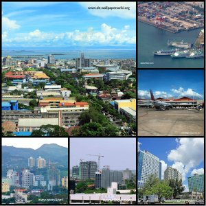 Images of Cebu City, Port of Cebu, and Cebu-Mactan International Airport.