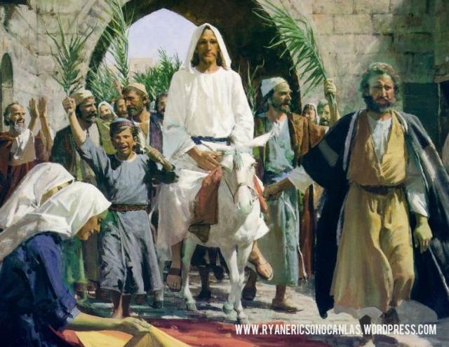 The triumphant entry of Jesus into Jerusalem.