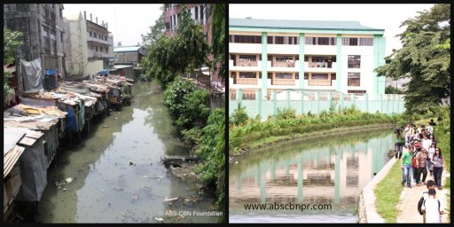 Estero de San Miguel: Before and after its renovation.