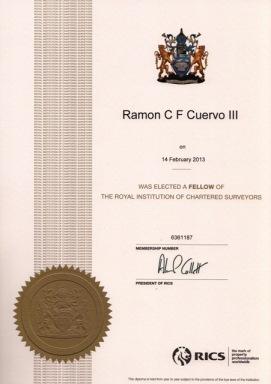 Mr. Cuervo's certificate of membership from RICS.