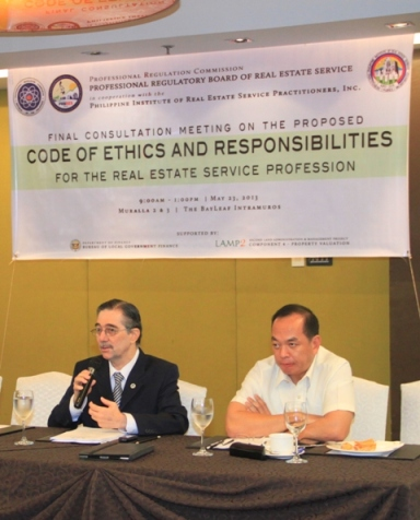 "Mr. Ramon CF Cuervo: ""In the Code of Ethics and Responsibilities for Real Estate Service Practitioners, it states that the practitioner shall observe at all times objective moral standards in the practice of real estate service with good governance in relation with his/her client(s) and the community and in service to the nation and Filipino people."""