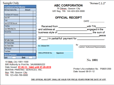 Sample of the new receipt to be issued by all businesses. (Photo source: www.gvacpas.com)