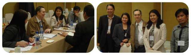 Left: Actual workshop and case study meeting with group of participants. Right: Members of the group are as follows: Former Under Secretary of Trade and Industry Thomas Aquino of A.Brown - Ramon CF Cuervo III Chairman of Audit Committee, PhilRealty/ Treasurer and Audit Committee Member, Phil Realty Geraldine D. Malabanan Finance Manager of Staff Alliance, Inc. Jackie Louie Solivio Chief Executive Officer of Trump Motorcycle Corp.