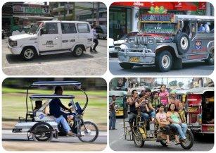 Up: Tamaraw FX, Jeepney Down: Tricycle, Kuliglig source of photos: cars.mitula.ph, www.tropicalisland.de , www.philippinenews.com