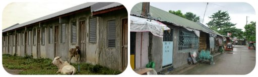 Left: the construction of 2,100 houses on a government relocation site in Cavite. Only 180 units were completed and remain unoccupied. photo: MARICAR P. CINCO / INQUIRER SOUTHERN LUZON Right: These government built house are on average of 20 sqm or 215 sqft each. photo: http://www.impactphilippines.net