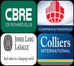 Up: CB Richard Ellis, Cushman & Wakefield Down: Jones Lang LaSalle, Colliers International