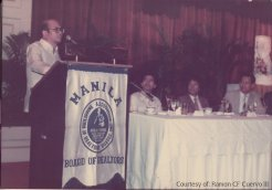 Dr. Bernardo Villegas, guest speaker during the Presidency of Emanuel G. Aguilar, Vice President Ramon F. Cuervo, with incoming President Tony Calero