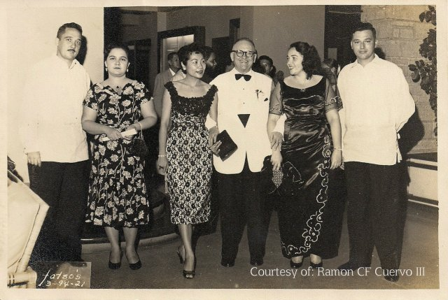 "Jose Mari Calero with his wife Charito Alleje Calero, Federico ""Pipo"" Calero with his wife Araceli Calero, MBR Past President Ramon F Cuervo Jr. with Mrs. Monserat Calero Cuervo.jpg"