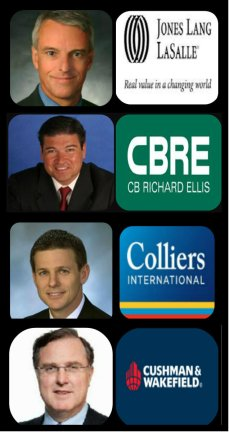 Jones Lang LaSalle Colin Dyer, President and Chief Executive Officer CBRE, Rick Santos Chairman, Founder and Managing Partner Colliers Doug Frye, President & Chief Executive Officer (CEO) Coshman & Wakefield Carlo Barel di Sant'Albano, chairman of the real estate brokerage.