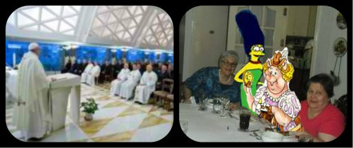 "Left: His Holiness Pope Francis, warns about the dangers of gossip Right: A dining table, of Cartoon Characters, & friends, enjoying a plateful .. Pochero de La ""LENGUA"""