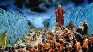 Moses exits Egypt with his people.