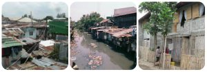 """Left: Typical Informal Settler's House; Middle: """" Bahay sa  Estero"""" Right: """"  Below standard Resettlement Area"""