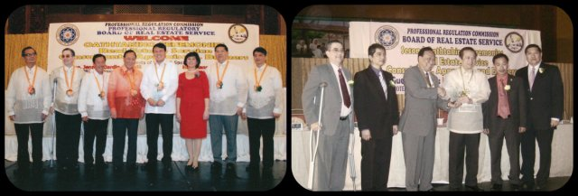 "Winner of outstanding Real Estate Awards for Excellence Senator Manny Villar and Congressman Rodolfo Valencia ""Model Real Estate Practitioner & Awardees"""