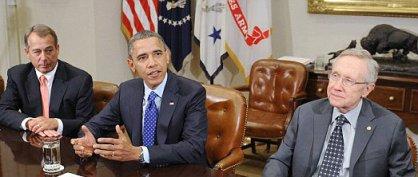 President Obama debating with Republican House Speaker John Boehner  and Democrat Senate Majority Leader Harry Reid