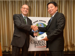 """BSP Governor Tetangco receives his award as one of the world's six  best central bankers in 2012 from Global Finance. """"the filipino is resiliant and strong amids graft and corruption in the government"""""""