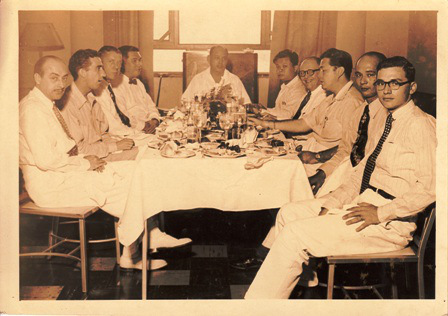 "1948 Federico ""Pipo"" Calero and Realtor Ramon F. Cuervo Jr. with fellow Manila Board of Realtors, foreign guests and businessmen."