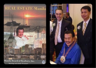 "Past President Art Briones with Honorable Mayor Joseph ""Erap"" Estrada who made special mention about Ramon F. Cuervo Jr. In helping transform San Juan in to a city."