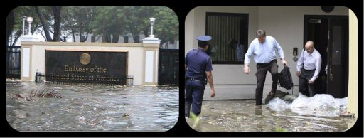 Left: US Embassy flooded by Typhoon Pedring Right: American embassy staff step into floodwaters after office service was suspended due to the typhoon Gener (international name: Saola) on Wednesday, Aug. 1, 2012 along Manila's Roxas Boulevard, Philippines. The US embassy reopened on Thursday. AP PHOTO/PAT ROQUE Source: www.wheninmanila.com  http://globalnation.inquirer.net/46221/us-embassy-reopens