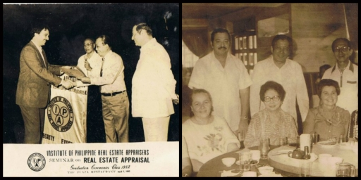 At left, pappy looks at Fico during his Appraiser graduation in 1982. At right, my parents together with Tita Conchita and friends.