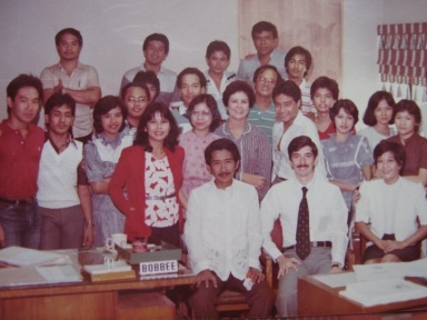 Mr. Ramon CF Cuervo III with Mr. Oliver Morales, Founders of Cuervo Appraisers and his first dynamic, hardworking staffs. Taken sometime in 1985 when Cuervo Appraisers became the No. 1 appraisal company in the Philippines. From a humble beginning of only 5 personnels in 1980.