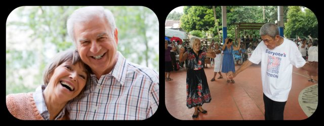 Left: Happy foreign couple senior citizens in the Philippines Right: Dancing Filipino couple as the music plays. photo source:  www.passporthealthusa.com www.clinicalsportsmedicine.com